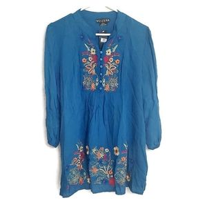 Velzera Blue Floral Embroidered Tunic Top